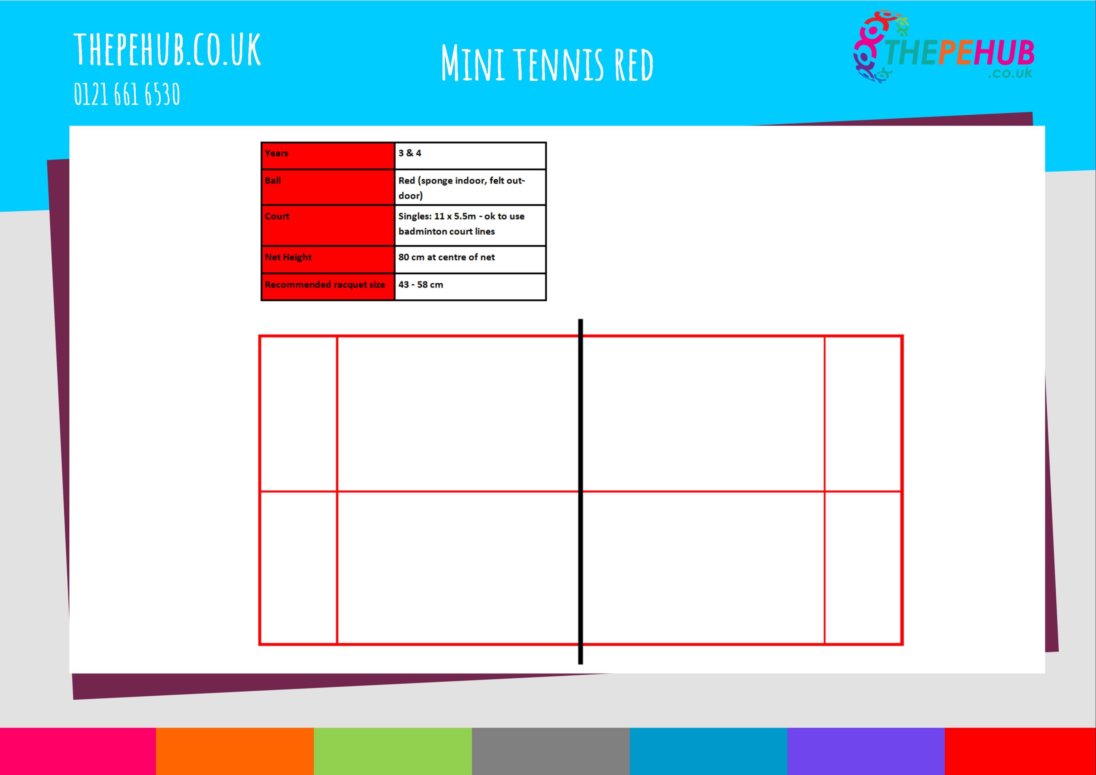 School games mini tennis red court layout