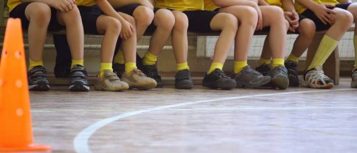 Pupils waiting for a PE lesson to start